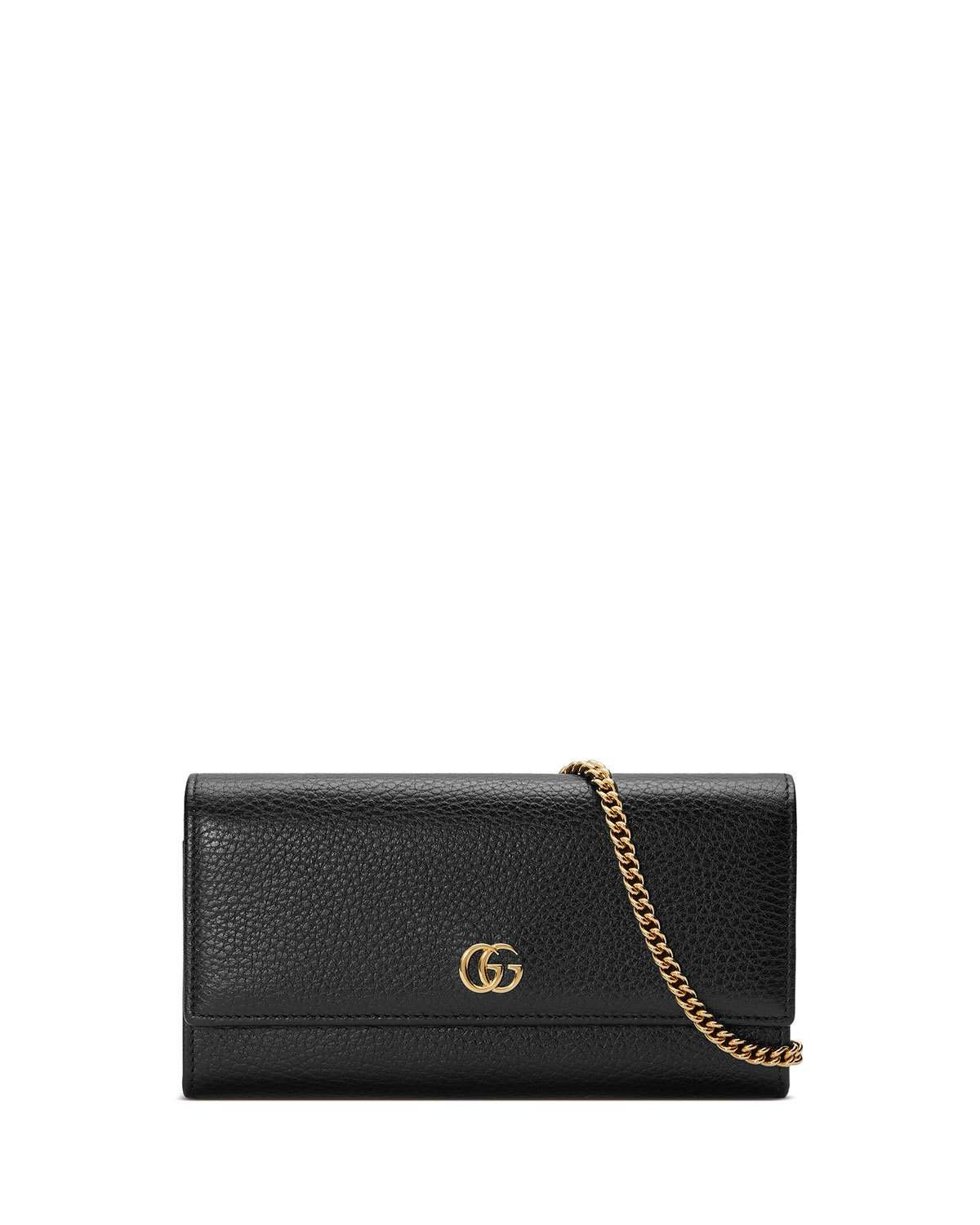 741048db396  Gucci  NeimanMarcus - GucciPetite GG Marmont Leather Flap Wallet on a  Chain.