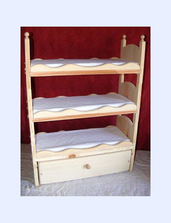 Stackable American Girl Triple Doll Bunk Bed With Trundle Scalloped