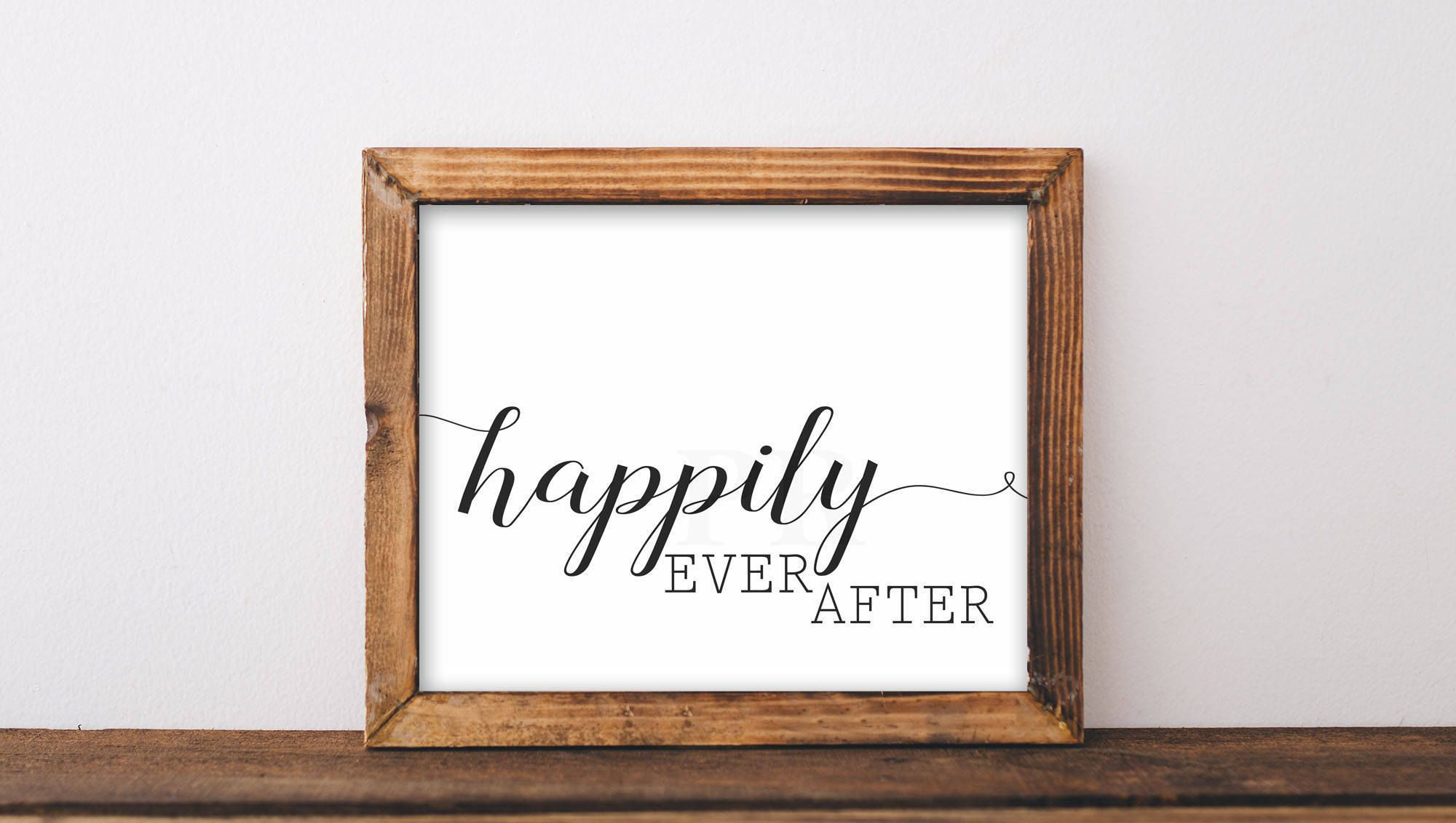 Best Happily Ever After Farmhouse Bedroom Decor Wall Art 400 x 300