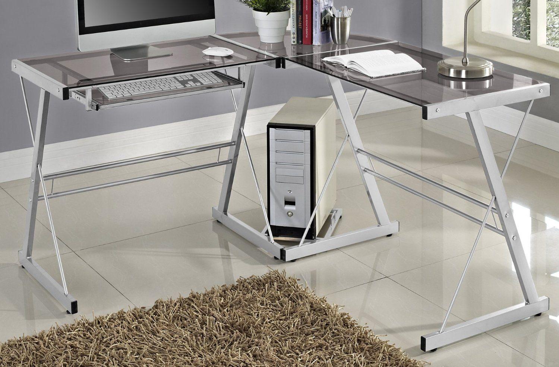 Walker Edison Premium Soreno Glass Corner Computer Desk Silver