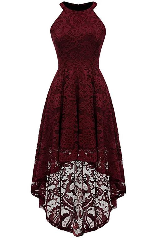A| Chicloth Casual 1950s High Low Sleeveless Lace Dresses