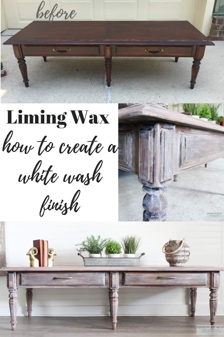 Lime Washed Coffee Table Makeover with Liming Wax is part of Coffee table makeover - This is a quick tutorial on how to lime wash or lime wax a piece of wood  I've included a video tutorial on how I limewashed my coffee table
