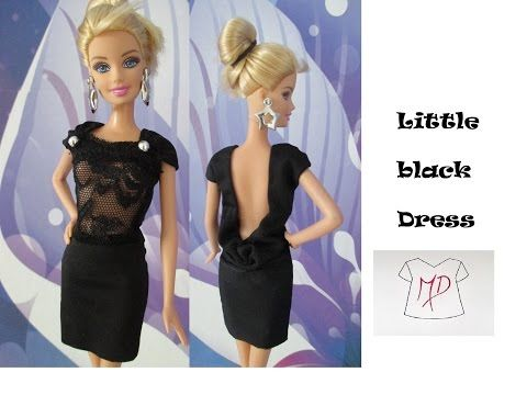 BARBIE DOLL-HOW TO MAKE-LITTLE BLACK DRESS - YouTube | Barbie Doll ...