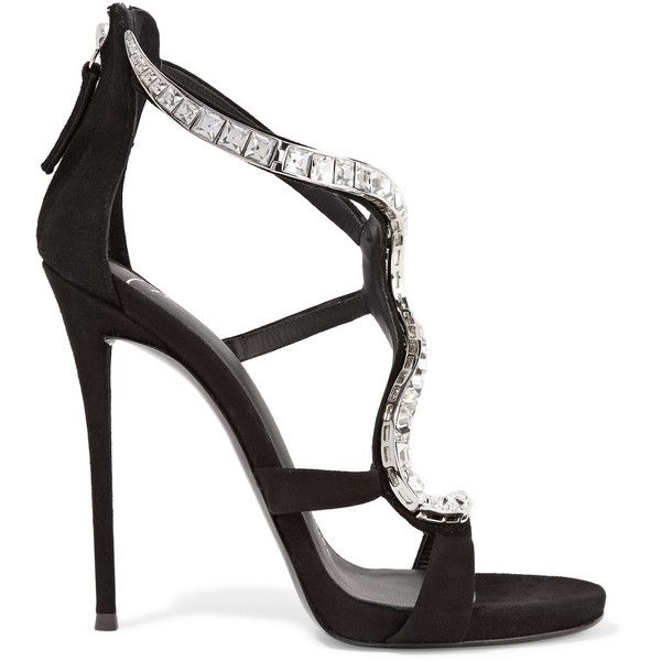 Giuseppe Zanotti - Crystal-embellished Suede Sandals ($808) ❤ liked on Polyvore featuring shoes, sandals, black, giuseppe zanotti shoes, embellished sandals, high heeled footwear, crystal embellished sandals and black suede sandals