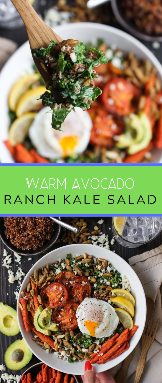Warm #Avocado Ranch Kale #Salad #avocadoranch Warm #Avocado Ranch Kale #Salad. It's warm, cozy, hearty, amazing. And best of all? Showered in HOMEMADE avocado ranch dressing! Let's do this. avocado ranch kale saladIngredients:SALAD:3 large tomatoes, sliced thick2 – 3 tsps extra virgin olive oila few pinches of sugara pinch of salt1/2 cup red quinoa, uncooked10 oz tuscan kale, chopped and stems removed6 large eggs1/3 cup roasted & salted pepitas4 – 6 oz queso frescotortilla strips/chipsD #avocadoranch