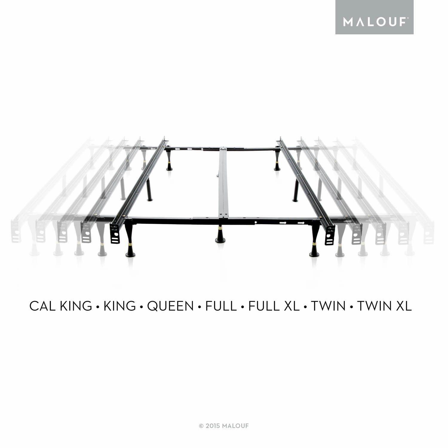 MALOUF STRUCTURES by Heavy Duty 9-Leg Adjustable Metal Bed Frame ...
