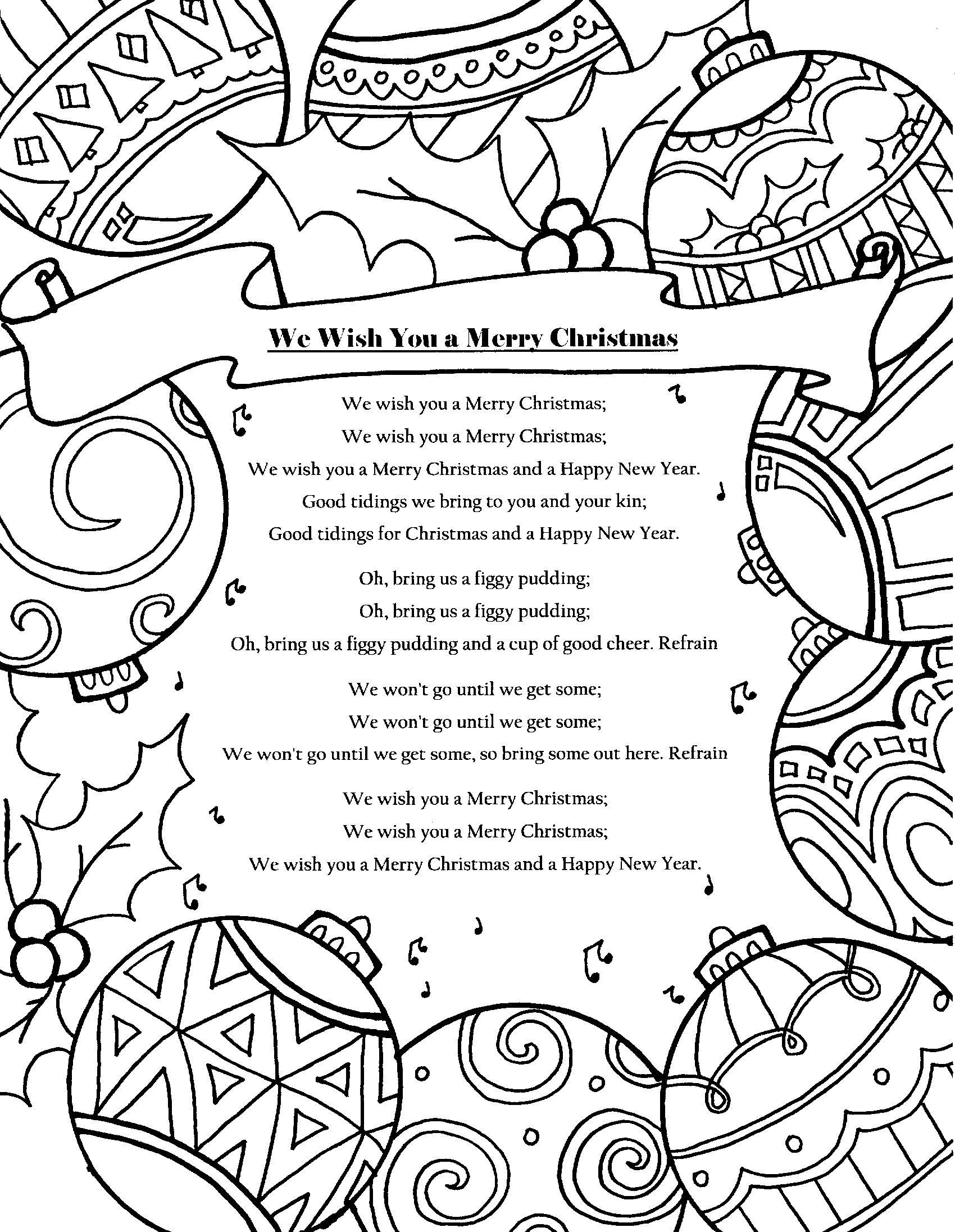 Christmas Carol Coloring Page etsy christmas coloring