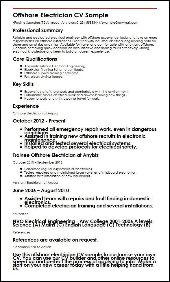 Cv Builder Offshore Electrician Cv Sample Myperfectcv 9f525165 Resumesample Resumefor Resume Skills Resume Format Sample Resume