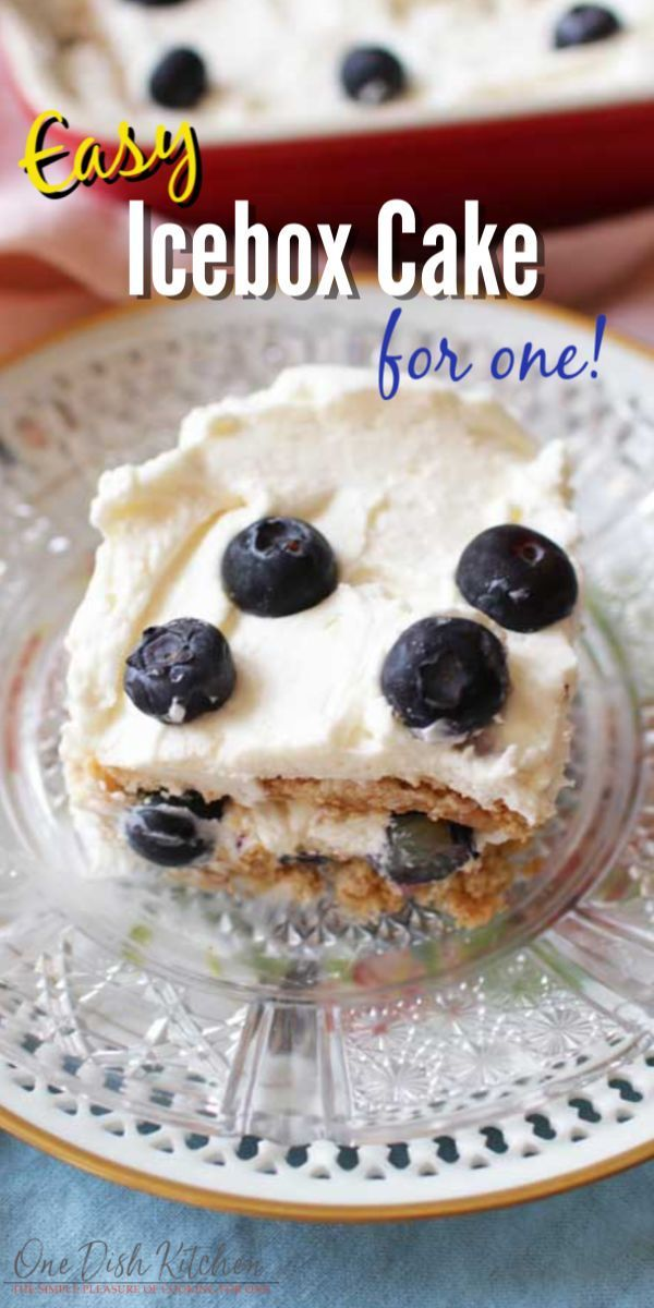 This is the best single serving icebox cake recipe! So easy to make and the perfect size for one person. It's a light, no-bake cake made with a sweet cream filling and berries layered over graham crackers. | Single Serving | One Dish Kitchen |