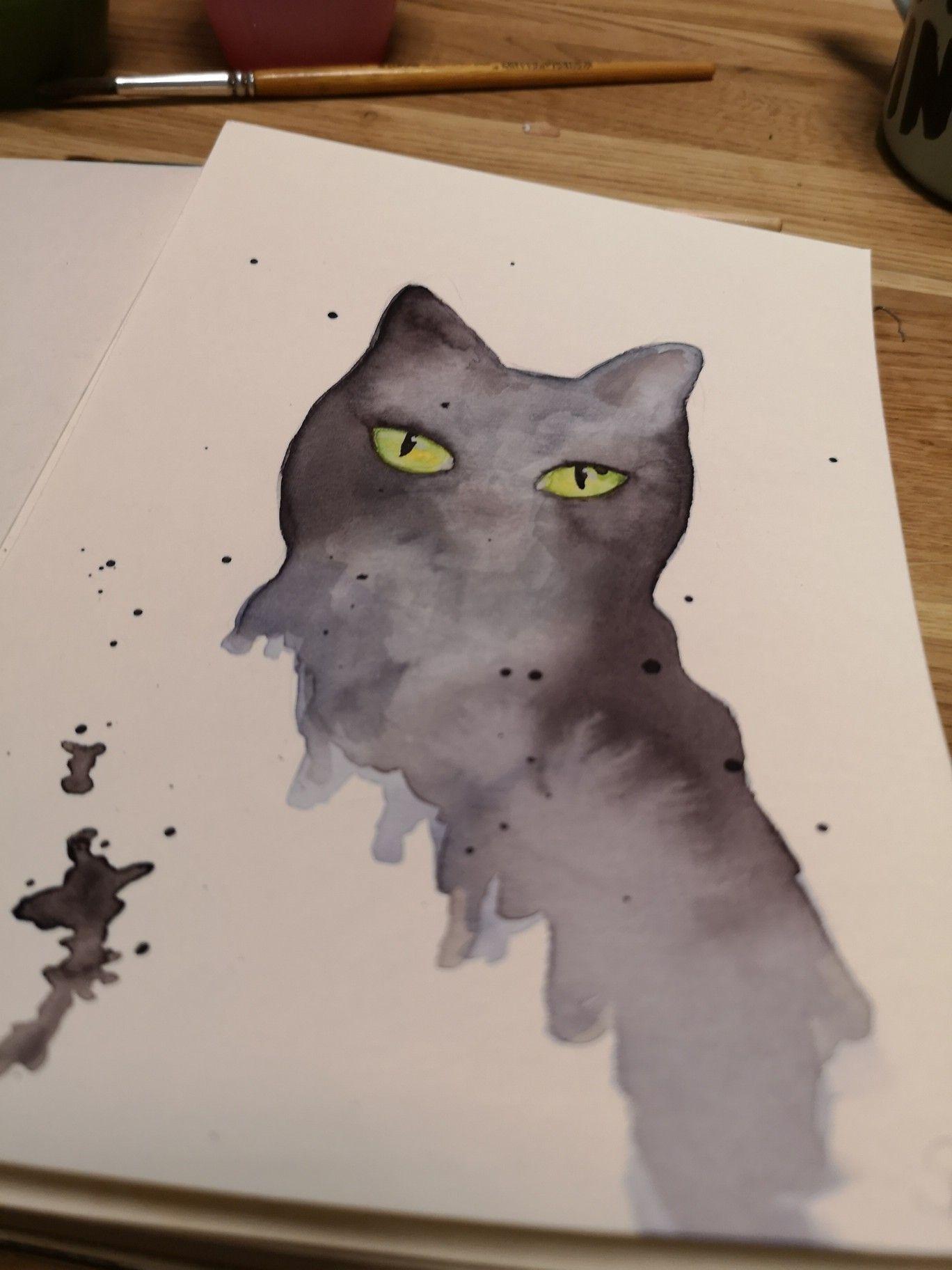 Katze Mit Schmincke Aquarell Farben Watercolor Cat Black Cat