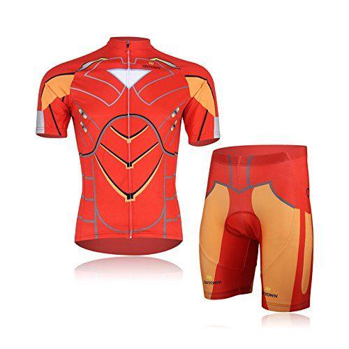 f3b559ce9 Weelly Summer Hero Men Short Sleeve Cycling Jersey Shirts Pants Coolmax Pad Iron  Man Spiderman Superman