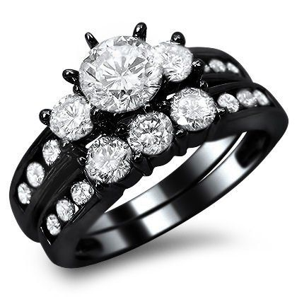 14k Black Gold Round Engagement Ring Bridal Set This is a bold