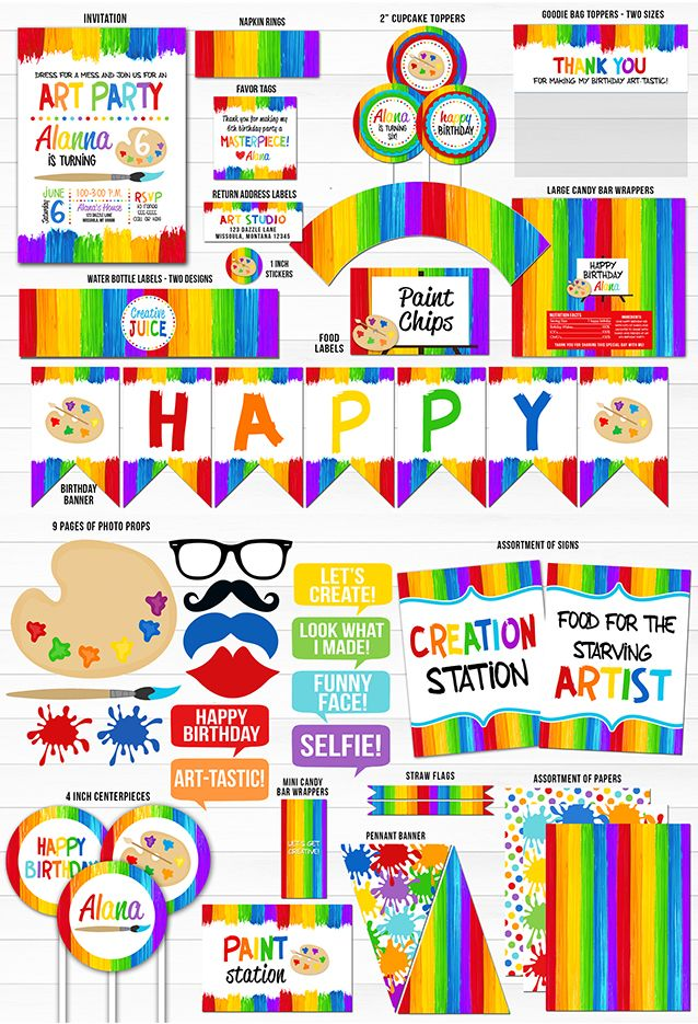 Printable Painting Art Party Birthday Party Package | Kids Art Party ...
