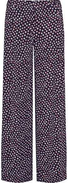 Diane von Furstenberg - Stanton Printed Silk-jersey Wide-leg Pants - Midnight blue