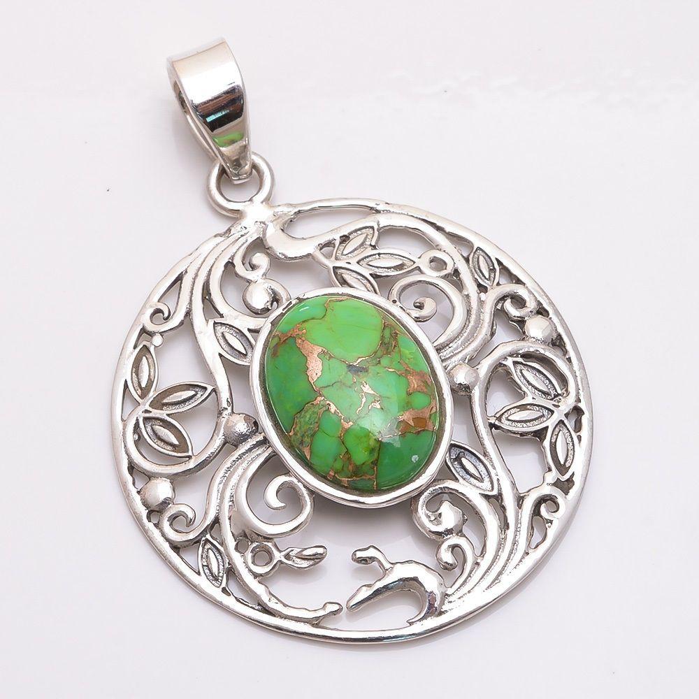 Handmade Green Copper Turquoise Filigree 925 Sterling Silver Pendant Jewelry #PI #Pendant