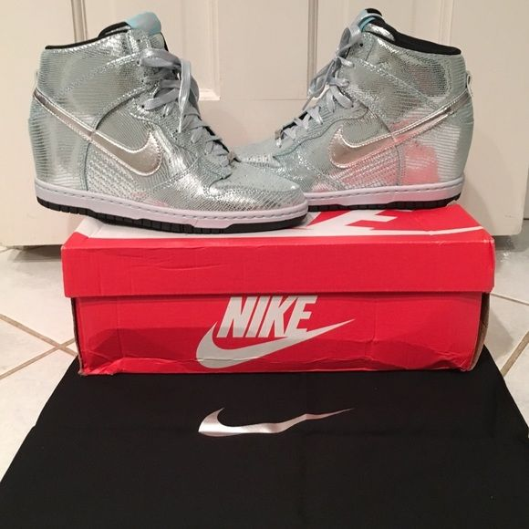 daecadfedf36 Nike Wedge Sneakers Nike Dunk wedge sky high sneakers size 8.5 metallic  silver glacier ice. Bought these shoes for my wedding but never changed  into them.