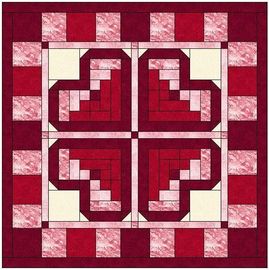 (7) Name: 'Quilting : Log Cabin Heart Quilt Block Pattern