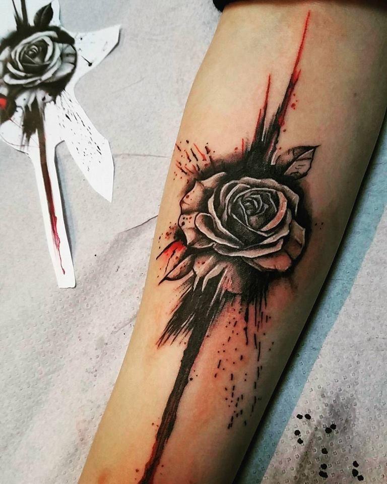 d6e539230 David Mushaney - Trash Polka Style Wolf and Rose Tattoo | tattoos ...