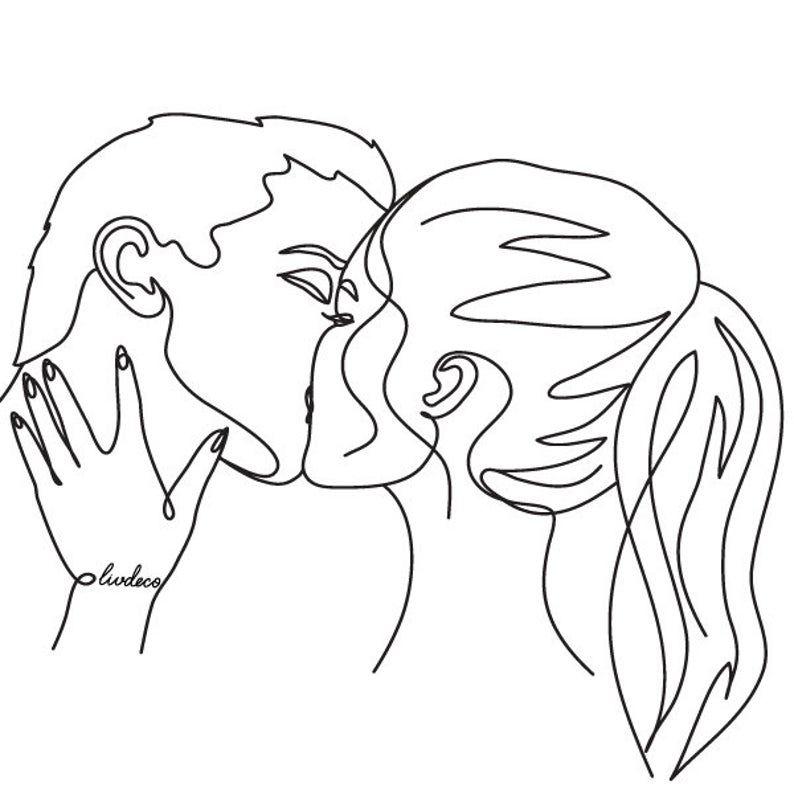 Custom Line Art Couples Portrait Kiss print. One Line Portrait from your photo Custom Birthday Gift For Him