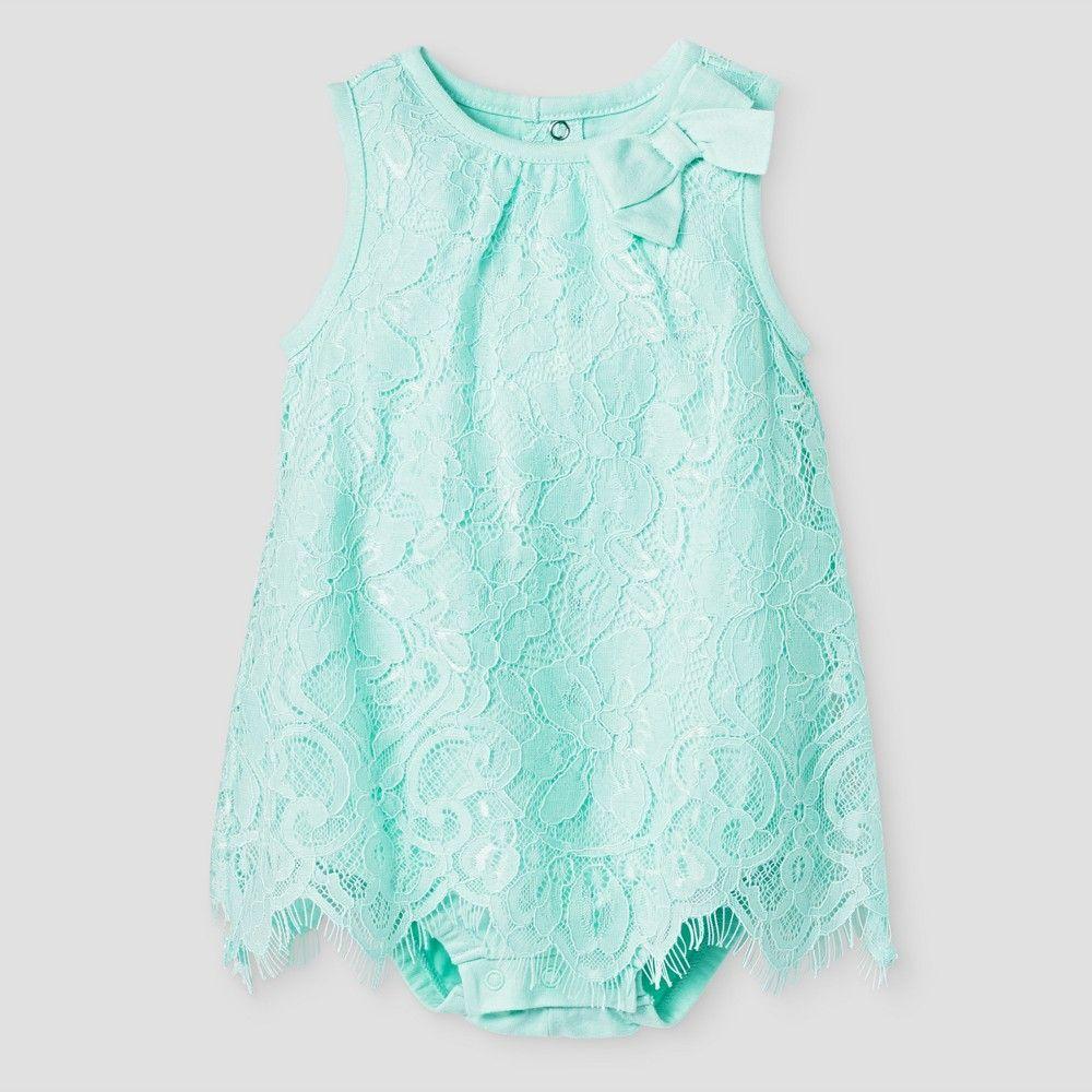 f5718da80fd8 Baby Girls  Lace Romper Cat   Jack - Aqua 3-6 Months