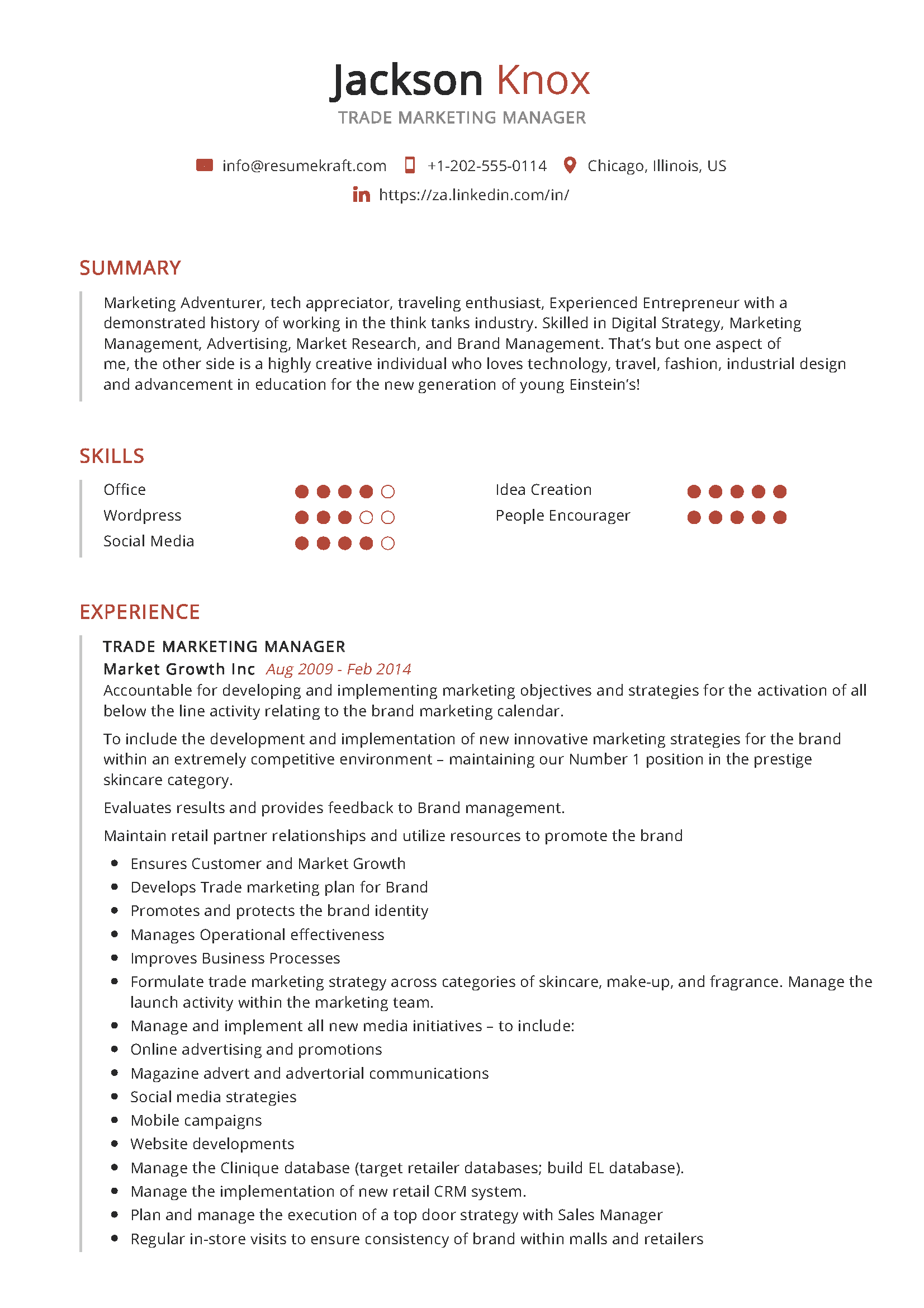 Trade Marketing Manager Sample Resume in 2020 Manager