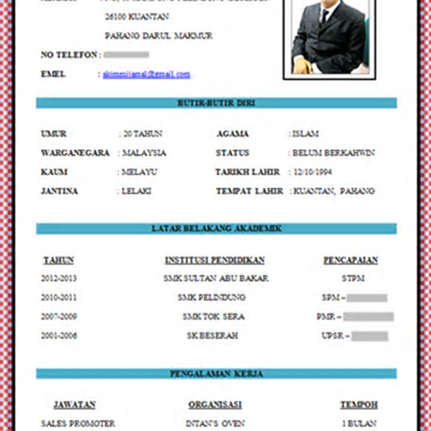 Contoh Resume Bahasa Melayu Yang Baik Pic Contoh Resume Resume