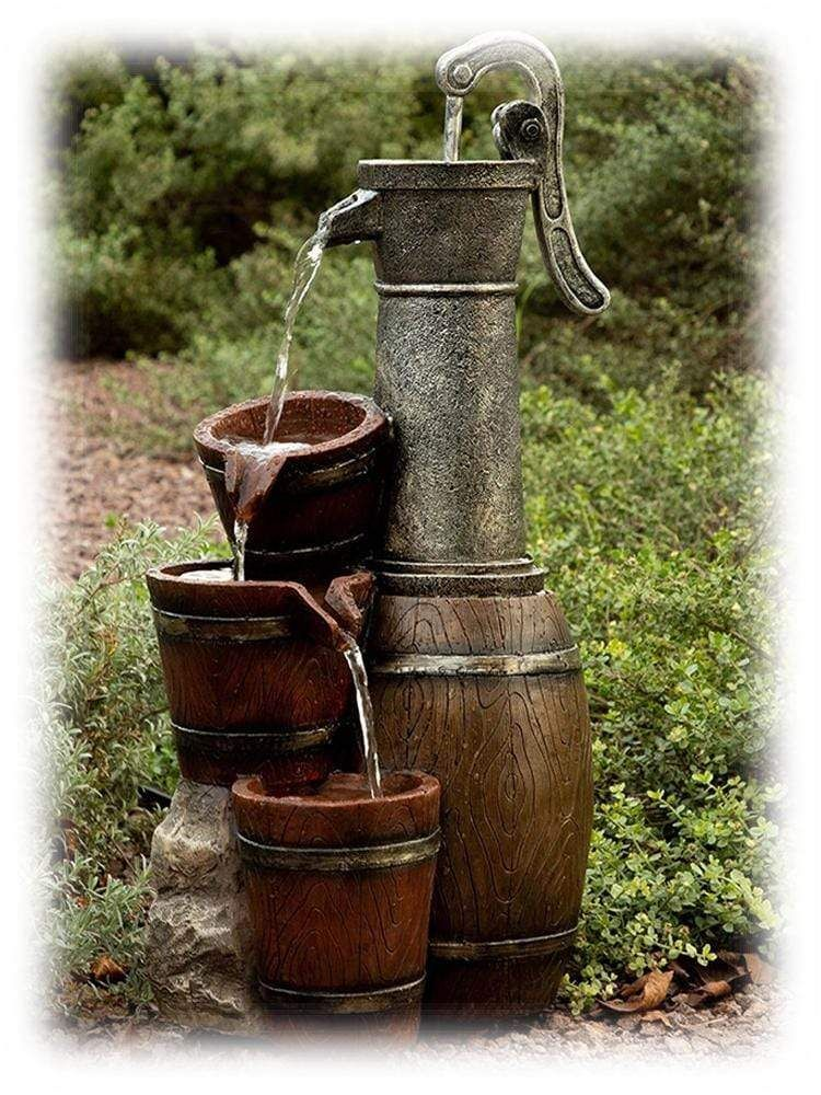 Tall Vintage Barrel Water Pump with Tiered Buckets Outdoor