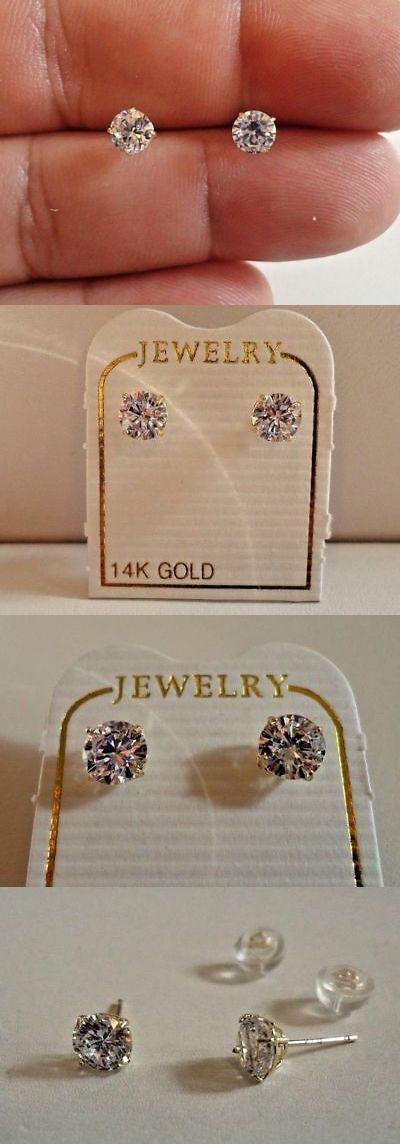 e5460cf67 Fine Earrings 10985: 14K Solid Yellow Gold Stud Earrings W .50 Ct Flawless  Diamonds 5Mm In Diameter -> BUY IT NOW ONLY: $69 on #eBay #earrings #solid  ...