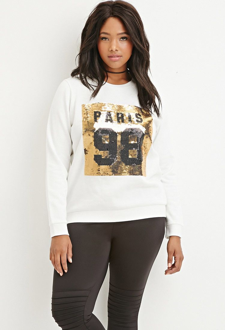 58544026385 Plus Size Sequined Paris Graphic Pullover