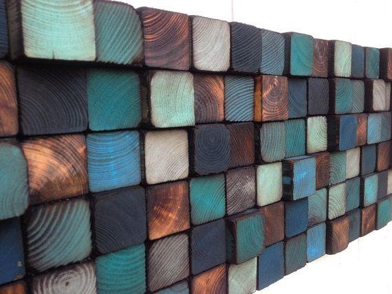 Parete in legno arte - scultura da parete legno recuperato
