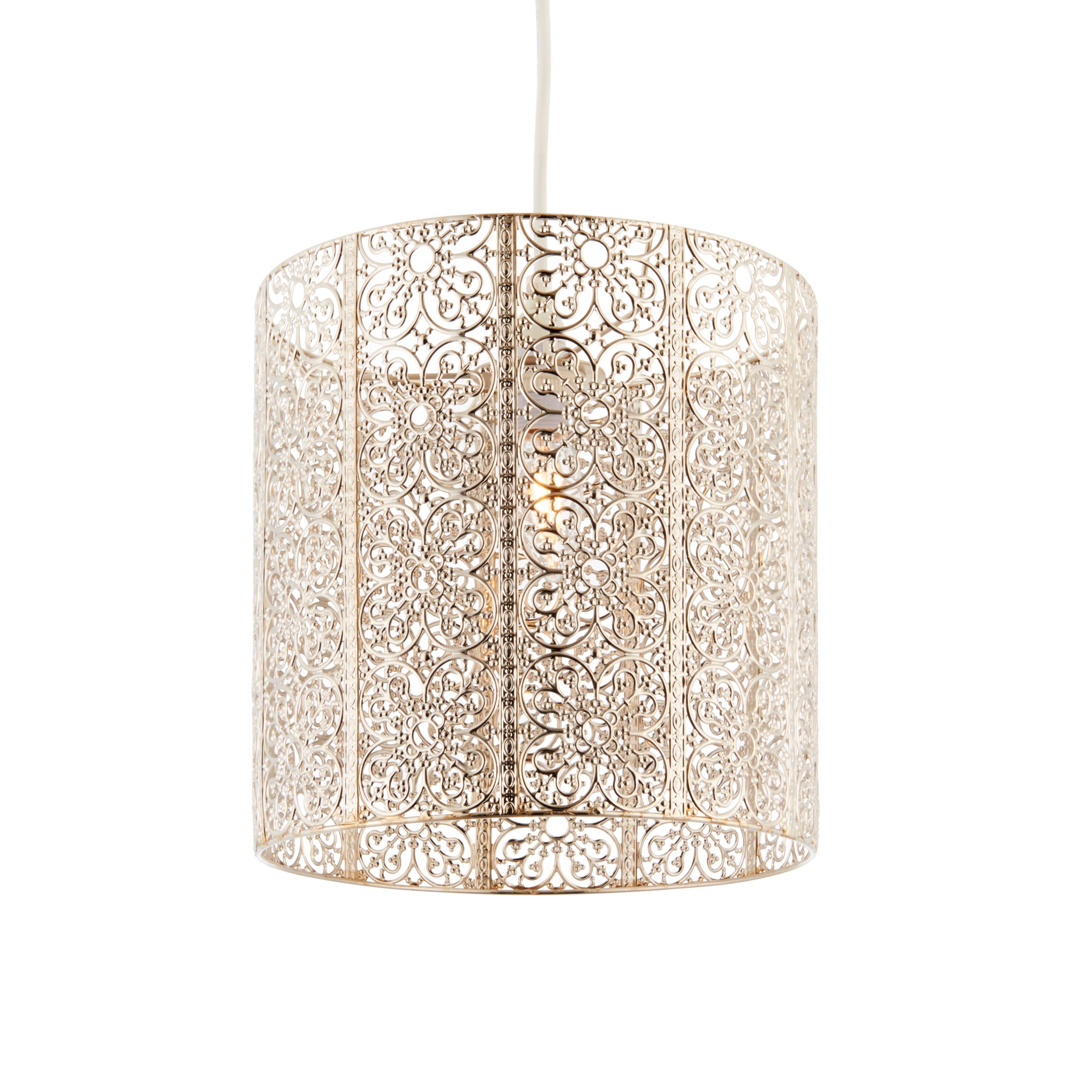 Krishna Filigree Metalwork Gold Bright Nickel Effect Lamp Shade ...