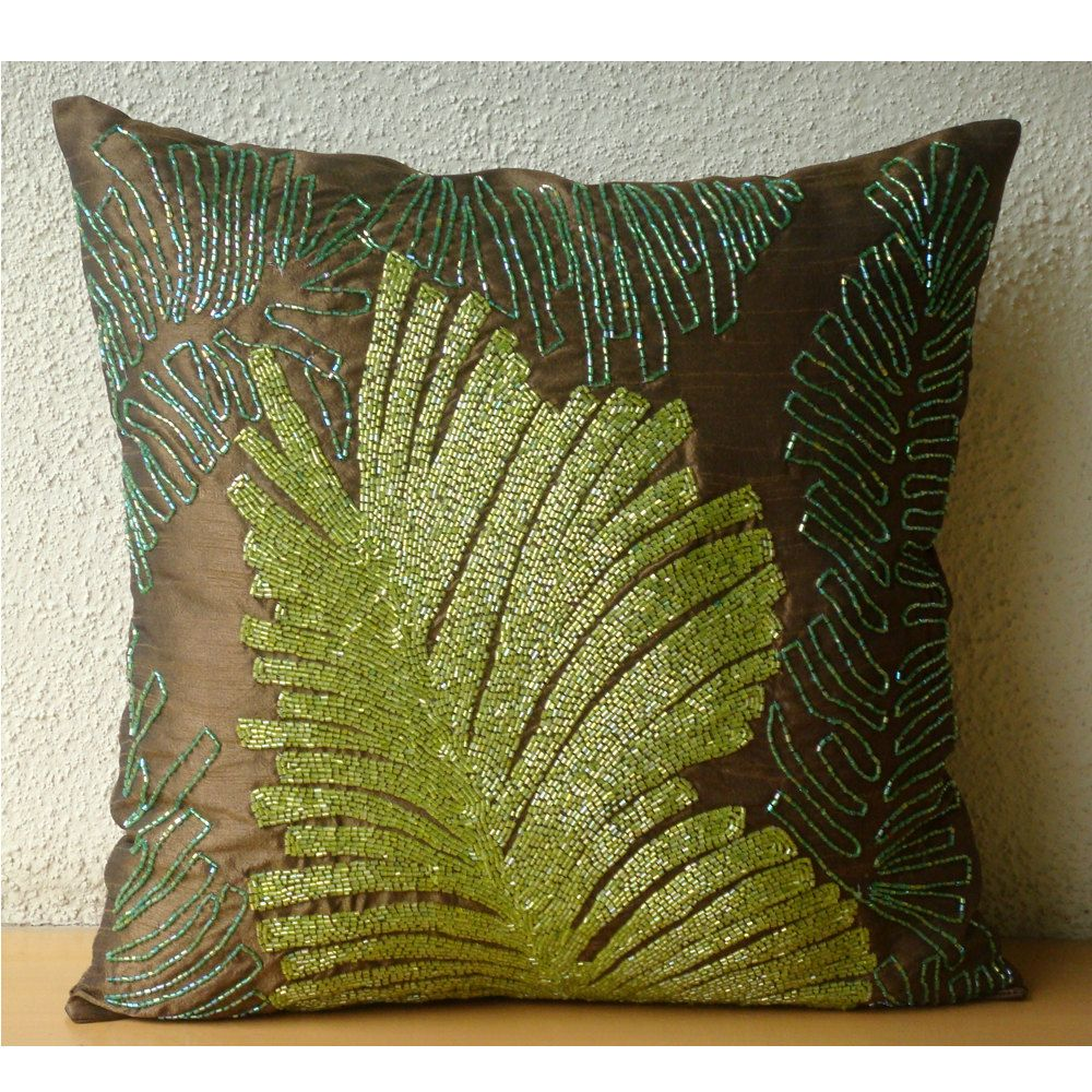 Luxury beaded leaf botanical pillows cover brown decorative pillows