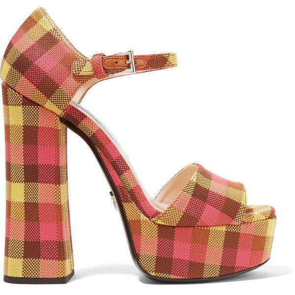 613398a64f Prada Checked canvas platform sandals ($795) ❤ liked on Polyvore featuring  shoes, sandals, accessories, multi colored sandals, canvas shoes, mid heel  ...
