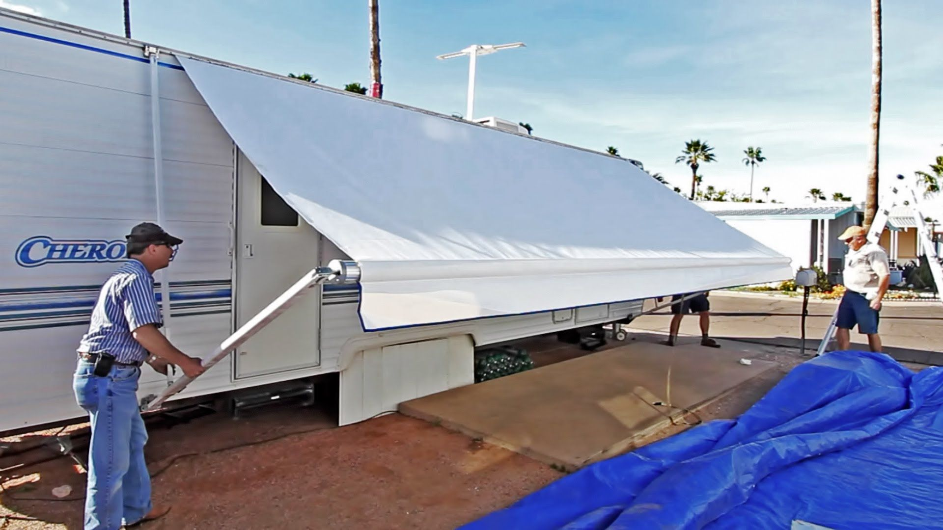 How To Replace An Rv Patio Awning Great Tutorial Camper Awnings Patio Awning Camper Makeover