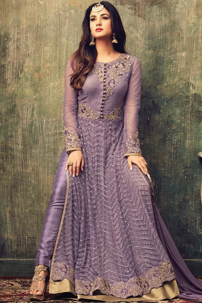 3b01b1c6aa Buy Light Purple Net Ankle Length Party Wear Suit Online at indi.fashion