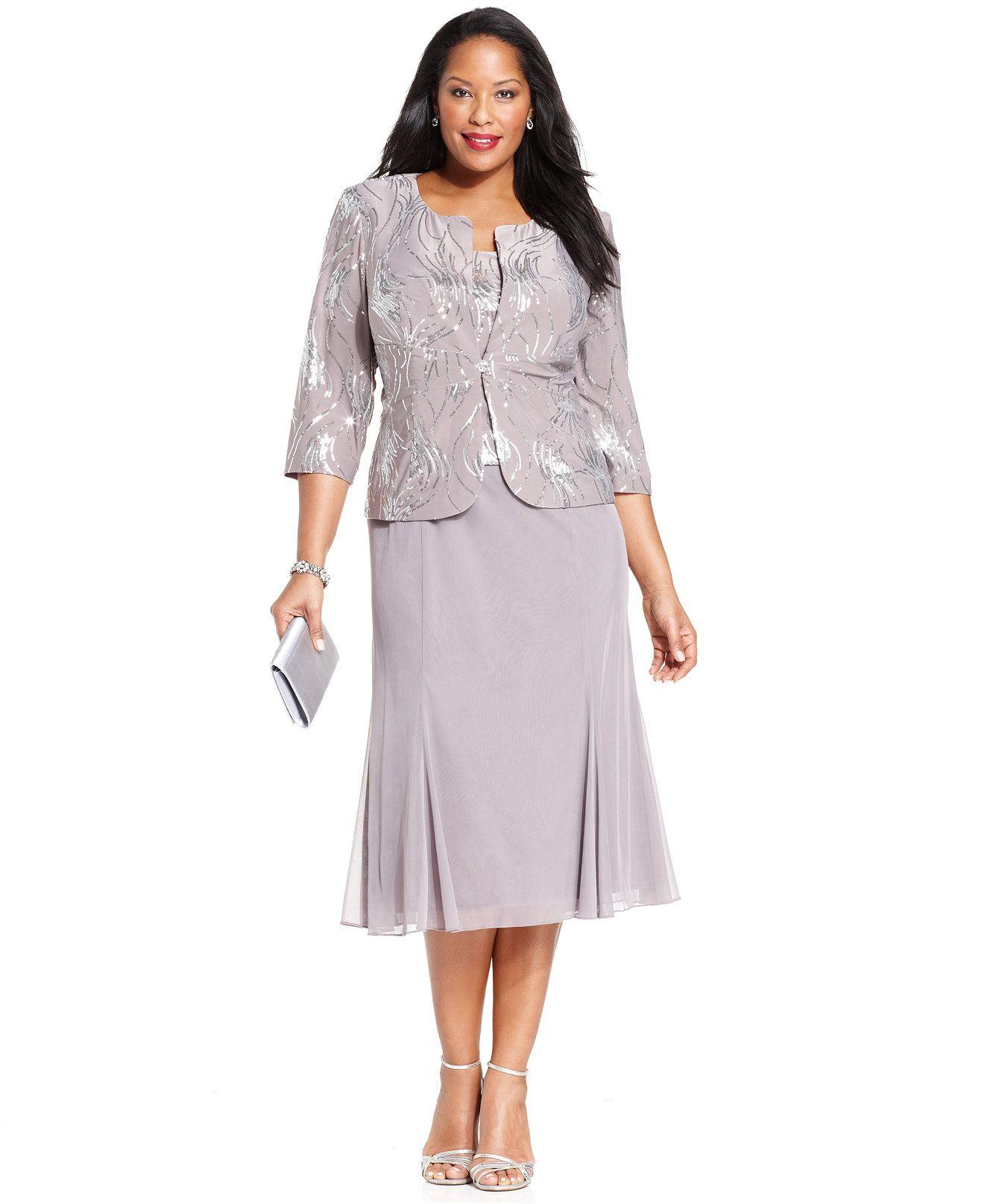 Plus Size Sequined Chiffon Dress and Jacket | Alex evenings, Chiffon ...