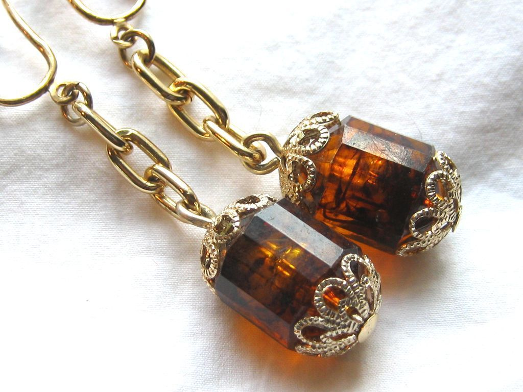 Vintage Sarah Coventry Golden Lantern Dangle Amber Color Earrings