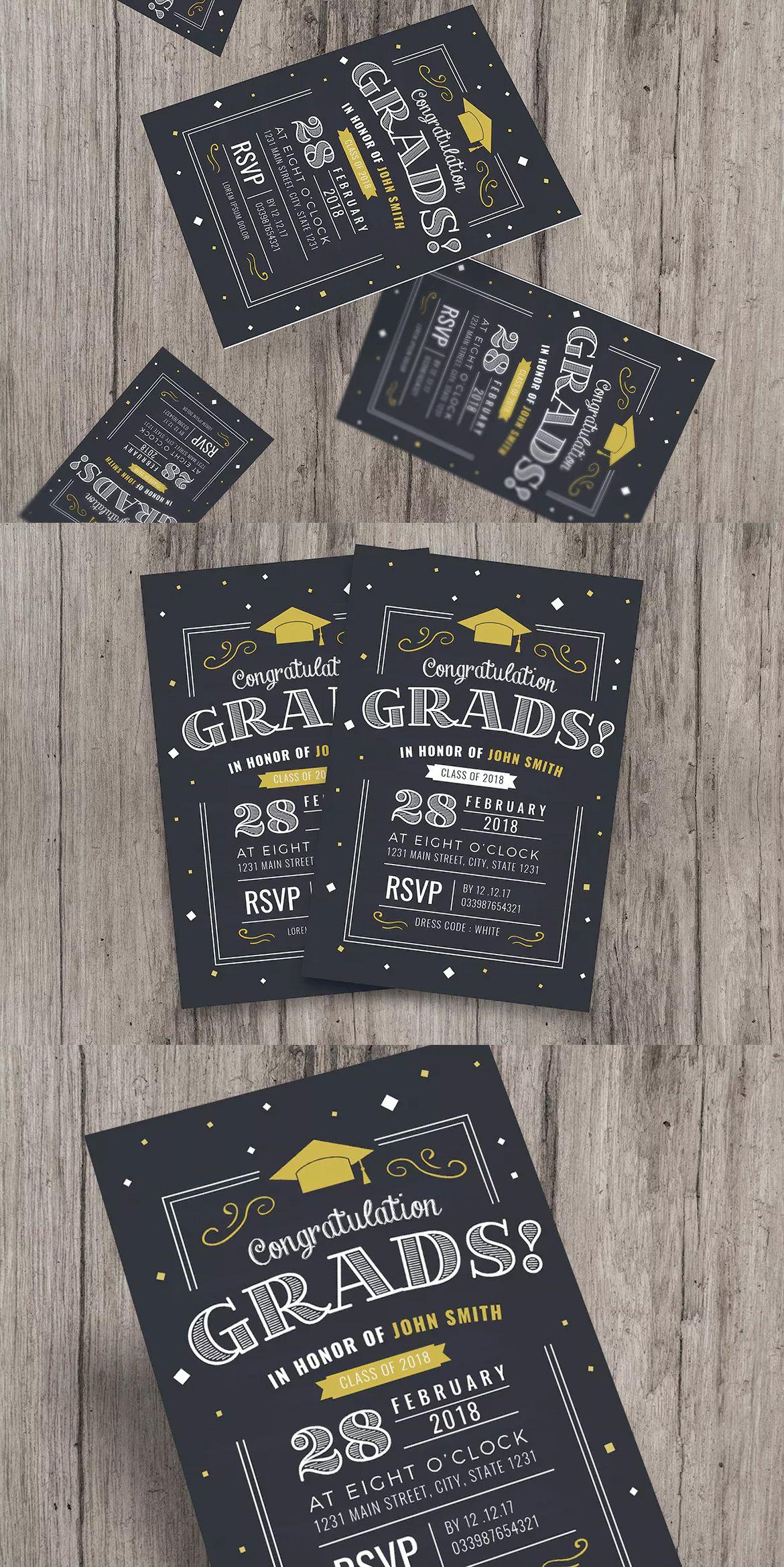 CHalkboard Style Graduation Invitation Template AI, PSD | Card ...