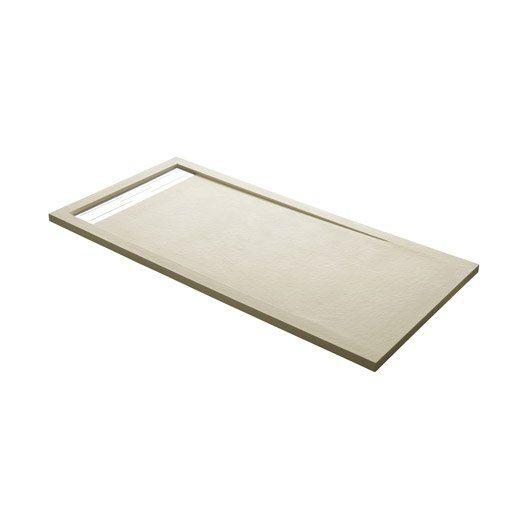 Receveur de douche rectangulaire L160 x l90 cm, résine beige Urban