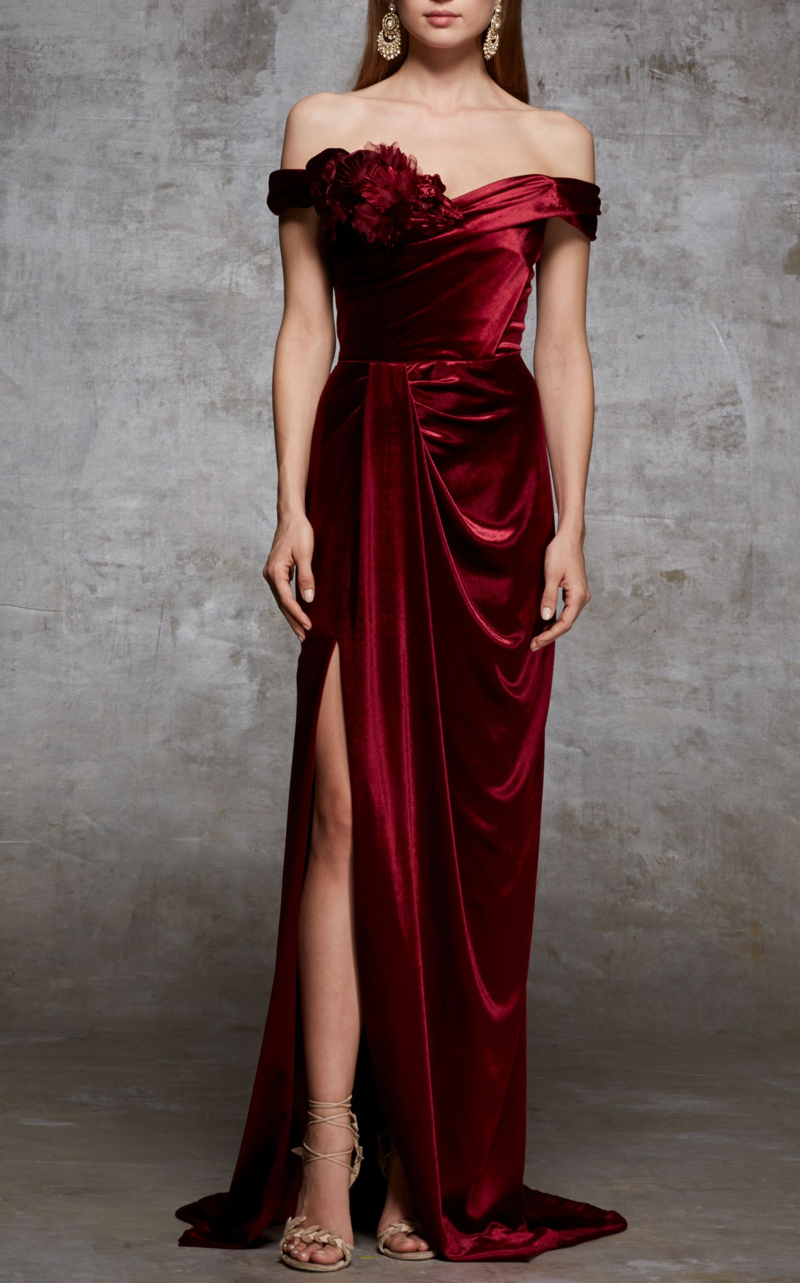 a328044c Off The Shoulder Velvet Gown by MARCHESA for Preorder on Moda Operandi