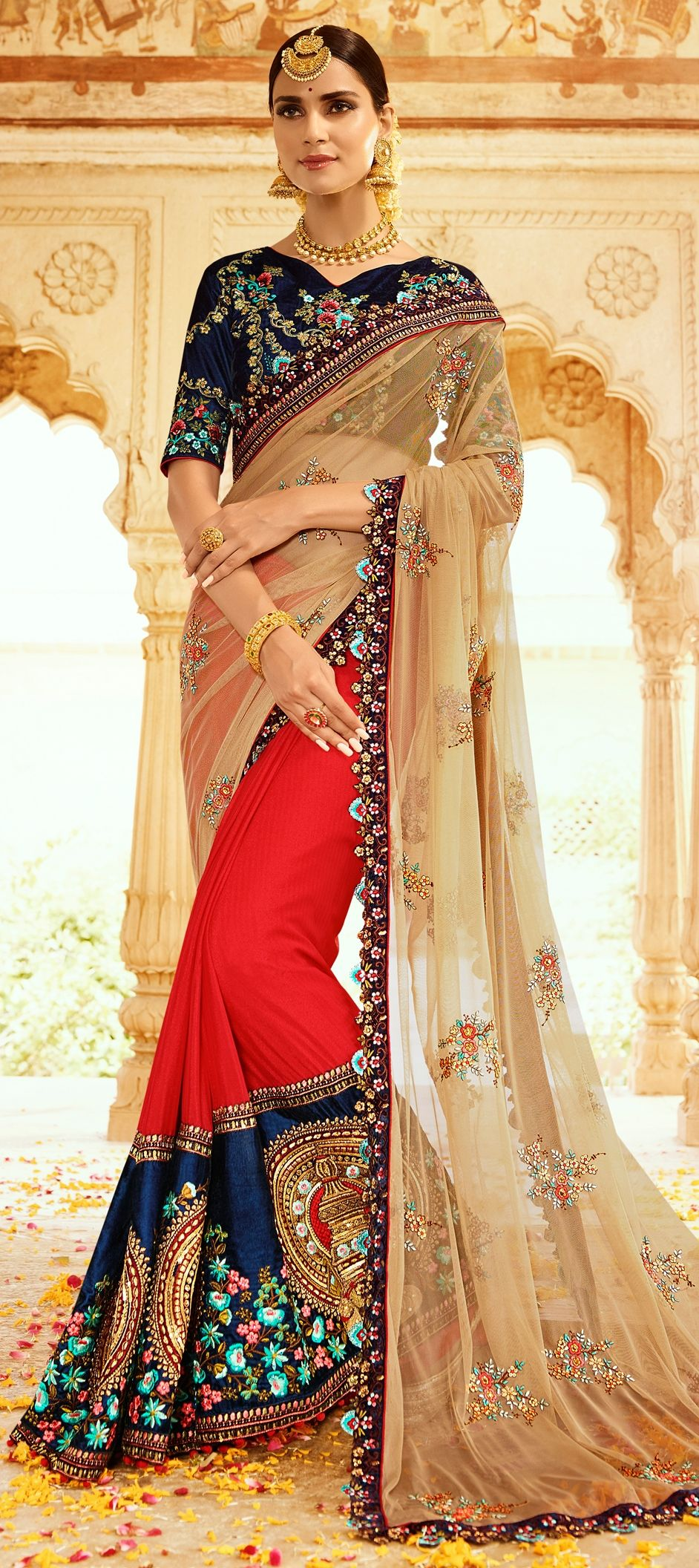 54740134d245 761075: Beige and Brown, Red and Maroon color family Bridal Wedding Sarees  with matching unstitched blouse.