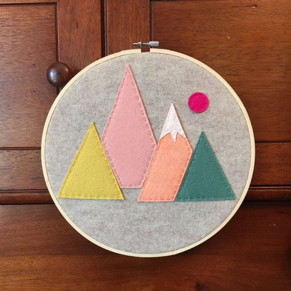 Embroidery Hoop Art, Wall Art, Mountains, Felt, Pink, Yellow, Orange, Blue Spruce, Pink Sun, Nursery Room Decor, Kids Room Decor