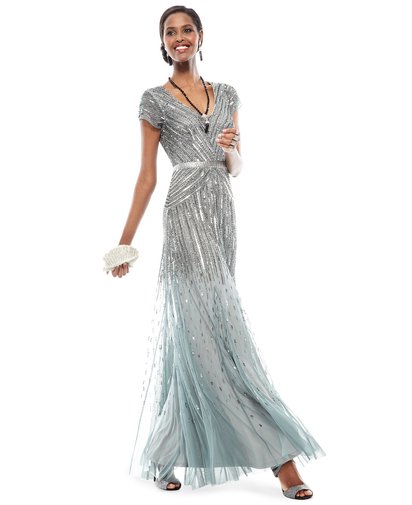 cfbbd5475eb The Dress Diaries Cap-Sleeve Beaded Formal Dress Look - Formal Dress -  Women - Macys