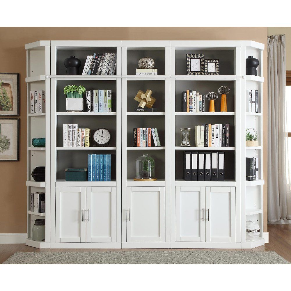 32 Inch Modern White Bookcase With Doors Catalina In 2020