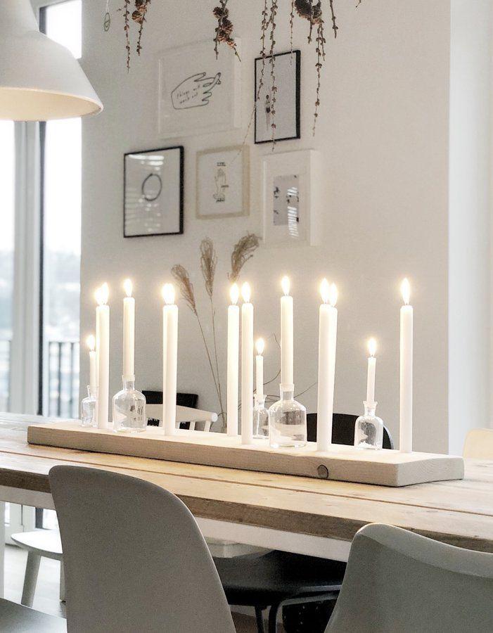 Kerzenbrett als Winterdekoration