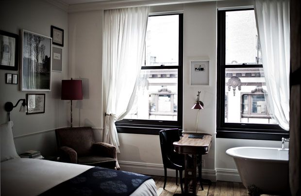 call it weird, but I LOVE the clawfoot tub int the bedroom - Hotel Nomad NYC