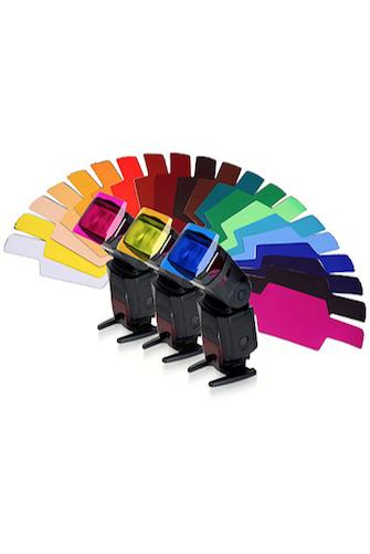 30 Pack Transparent Color Correction Lighting Film Sheets with Barndoor and Reflector for Camera Flash Light Photography Easy Hood Flash Speedlite Color Gel Filter Kit