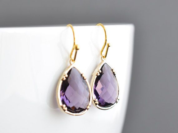 Deep amethyst simple 16k gold finished earrings by LilliDolli, $23.00