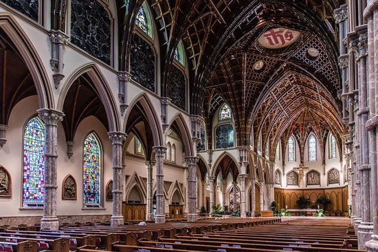 Gothic Revival Interior Of Holy Name Cathedral 1875 Chicago