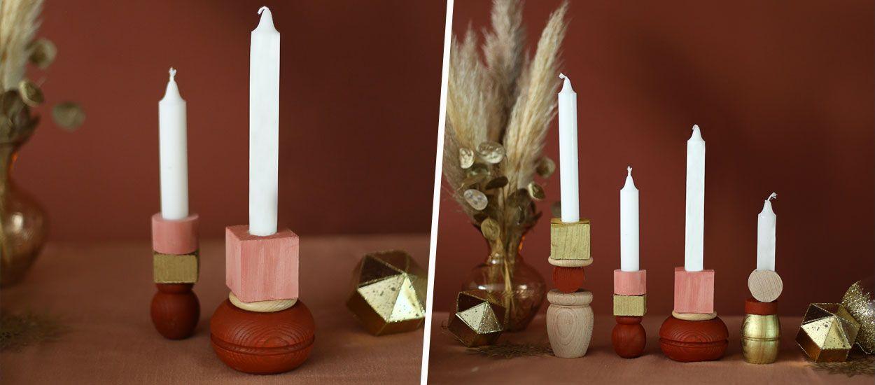 Tutoriel : Des bougeoirs en bois faits maison avec des objets récup'